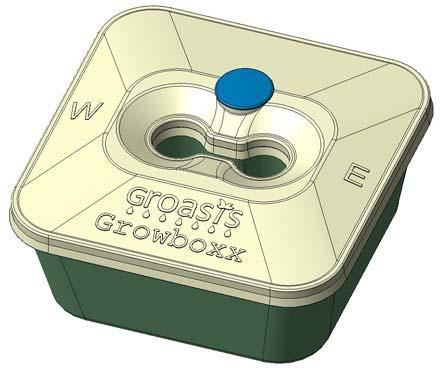 El diseño de la Groasis Growboxx - La Groasis Growboxx aún no está disponible
