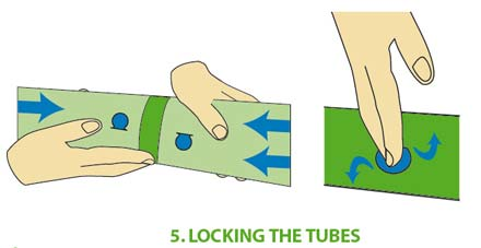 Push the locks exactly above the other. Then push the locks inwards and fold them aside