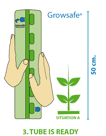 The Groasis Growsafe Telescoprotexx is 50 centimeters high and can grow with the tree or plant
