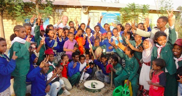 Pieter Hoff with the children of the primary school in Wukro Ethiopia