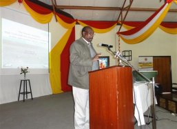 Professor Isaac Kigatiira who does the practical side of the project with his students speeches