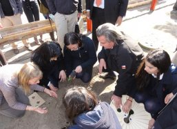 The second box is planted with students of Lyceo Carmela Carvajal