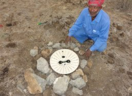 Proud planter from India of the Groasis Technology near Salalah Dhofar Oman