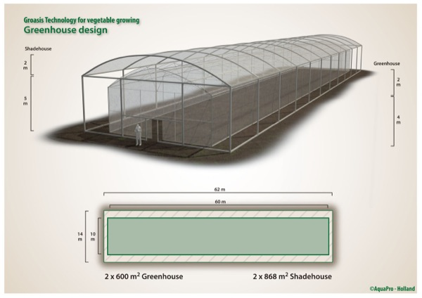 Buil your ideal greenhouse according to the design of Groasis and grow in a sustainable and water saving way vegetables